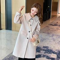 毛呢大衣 女士娃娃领纯色单排扣毛呢大衣2020冬季新款韩版时尚女式洋气双面呢外套女装中长款上衣