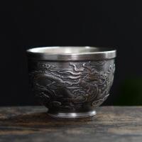 银杯子999纯银茶杯纯手工紫砂功夫茶具家用陶瓷内胆鎏银主人杯银 水杯 杯子