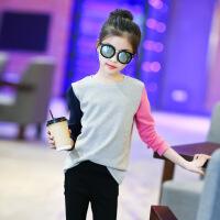 女童长袖T恤2021新款春秋装小童中大童体恤洋气女孩打底衫上衣