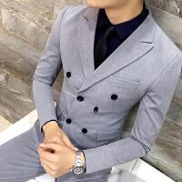 发型师酒吧男双排扣英伦韩版休闲男士西装外套青年修身西服单西潮