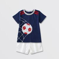 韩版儿童装婴儿衣服男童宝宝夏新款短T恤短裤两件套装0-1-2-3岁半 蓝色