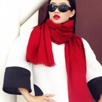 超长款羊毛围巾女韩版披肩两用薄款纯色围巾红色百搭