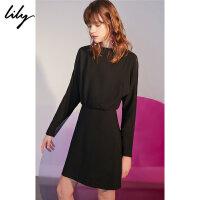 【不打烊价:269.7元】 Lily春新款女装一字领拉链黑色收腰长袖连衣裙118320C7246