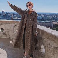 毛呢大衣 女士格子不对称门襟单排扣毛呢大衣2020冬季新款韩版时尚女式洋气复古外套女装棉衣