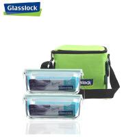 玻璃保鲜盒 微波炉饭盒 保温便当盒两件套1100毫升