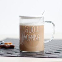 原味主义玻璃茶杯 有盖勺带把水杯马克杯简约早安杯GOOD MORNING