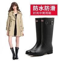 雨鞋女韩版高筒雨靴中跟春秋耐磨可爱果冻鞋学生胶鞋女式水鞋防滑
