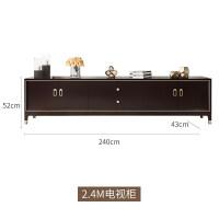 美式轻奢风实木电视柜小户型卧室现代简约客厅全实木家具黑胡桃色 整装