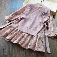 韩国童装女童蕾丝连衣裙儿童韩版裙子+针织背心马甲两件套2018春