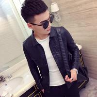 新款加小版pu皮夹克修身外套韩版紧身s小码瘦男士皮衣xs小号