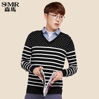 森马针织衫 冬装 男士套头条纹提花净色假两件毛衫韩版潮
