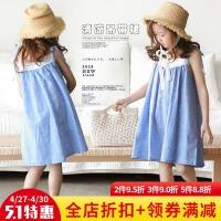 女童连衣裙2018夏装新款韩版沙滩长裙儿童棉麻纯色吊带沙滩裙子