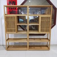 新中式榆木玄关白茬实木格子白坯书柜书架展柜博古架原木条案 格子一对烫蜡 运费到付
