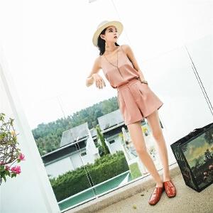 七格格v领小清新露肩雪纺吊带背心女2018新款夏季内搭外穿打底性感上衣