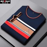 伯克龙 纯羊毛衫男士服装加厚款保暖圆领青少年修身波点针织衫毛线衣 Z7722