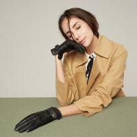 户外运动真皮手套女士加绒加厚羊皮骑行开车保暖韩版短款触屏薄款