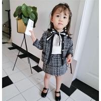 2018春季女童洋气套装小香风外套裙子2件套宝宝韩版衣服