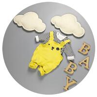 婴儿背带裤子0-3-6个月春秋新生儿长袖分体套装男宝宝百天衣服潮