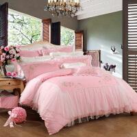 富安娜家纺 四件套纯棉婚庆用品床上件套全棉贡缎结婚床品炽爱