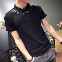 夏季韩版男士POLO衫短袖T恤时尚刺绣花潮原宿翻领修身半袖