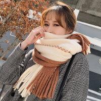 韩版百搭长款加厚披肩两用女士围巾 新款学生保暖针织毛线围脖流苏围巾