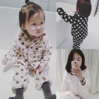 儿童睡衣长袖冬季加厚婴幼儿套装珊瑚绒女宝宝水貂绒亲子款家居服