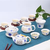 【支持礼品卡】创意家用玲珑陶瓷功夫茶具套装茶盘盖碗茶壶泡茶杯简约景德镇s3t