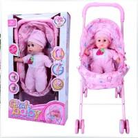 全店满99包邮!乐吉儿芭比娃娃 仿真哭声喝奶声 娃娃手推车带雨篷 婴儿学步推车