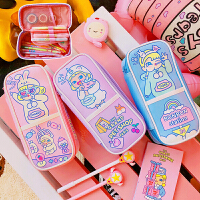 韩版卡通女孩简约少女心文具盒可爱日系创意个性笔袋大容量小学生