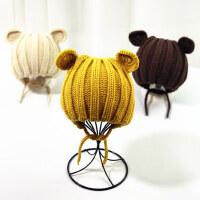可爱保暖男女童手工针织毛线帽宝宝户外保暖帽子