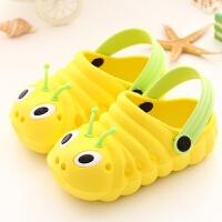 可爱纯色儿童男女宝宝夏季拖鞋婴幼儿包头洞洞沙滩凉鞋有跟带 黄色 鞋子偏大