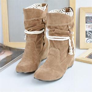 ELEISE美国艾蕾莎新品秋冬180-818韩版磨砂绒面坡跟女士短靴