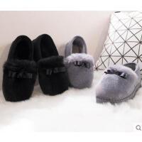 女士加厚暖毛绒拖鞋韩版保暖防滑毛毛拖 新款室内包跟家居家用月子鞋毛绒棉拖鞋女