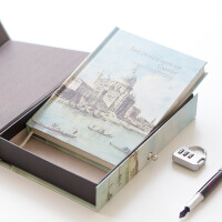 金谷 欧式复古名筑带锁日记本 盒装密码笔记本 精装硬面抄记事本