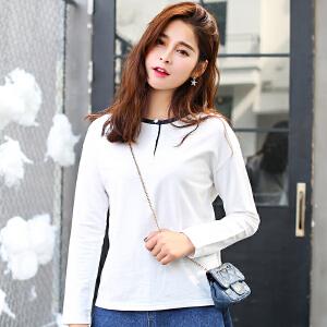 秋冬装上衣女学生新款秋装长袖宽松纯白t恤女韩版白色打底衫潮