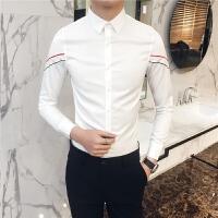 港风男士衬衣2018春款男生衬衫长袖韩版学生 帅气 发型师衣服潮流