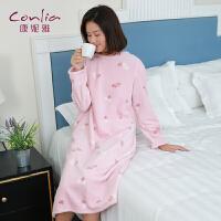 康妮雅睡衣 女士秋冬珊瑚绒长款可爱长袖卡通居家睡裙