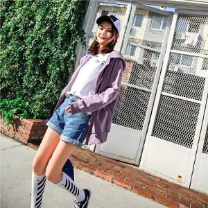 七格格紫色卫衣连帽秋装女2018新款宽松bf韩版学生百搭刺绣长袖早秋外套