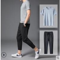 套装男九分裤两件套速干简约小西裤子小脚韩版修身户外新品网红同款薄款弹力裤