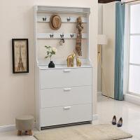 玄关鞋柜衣帽柜组合现代简约鞋柜带挂衣架一体多功能经济型门厅柜 组装