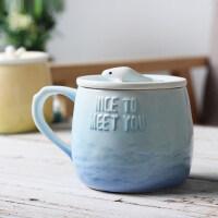 创意潮流带盖勺马克杯子陶瓷办公室牛奶咖啡早餐杯女简约可爱水杯