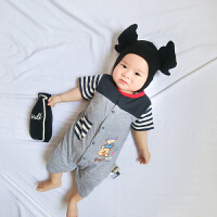 季婴儿连体衣短袖新生儿衣服棉装宝宝薄款休闲运动哈衣爬服