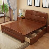 实木床1.8米现代简约中式储物高箱床1.5M双人橡胶木主卧婚床 +棕垫(10CM) 1800mm*2000mm 气压结