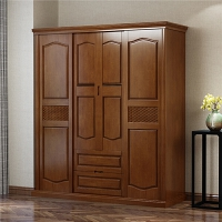 实木衣柜二三四五六门移门23456大推拉门对开门衣橱家具 6门 组装