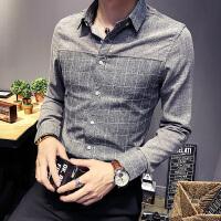修身拼接格子衬衣修身韩版商务青年男长袖衬衫发型师工装