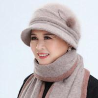 新款妈妈保暖兔毛帽加厚护耳围巾 奶奶长辈中老年人帽子女 保暖针织帽妈妈围巾