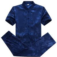 中老年唐装短袖男士套装夏季衬衫立领中式盘扣宽松大码改良爸爸装