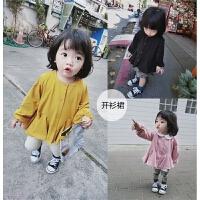 女童春季新款纯色宽松外套裙儿童宝宝纯棉洋气公主上衣