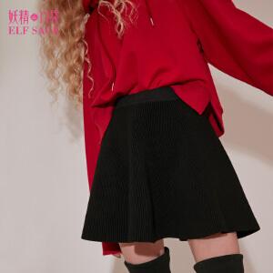 【6折价90元】妖精的口袋密斯陀螺冬装新款A字型纯色毛织半身裙短裙子女