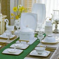 金边方形餐具碗盘子碗碟子 骨瓷餐具套装景德镇手工礼品餐具